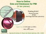 How to Define Data and Databases for PMI (in ten pieces)