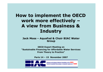 How to implement the OECD work more effectively œ A - Aquafed