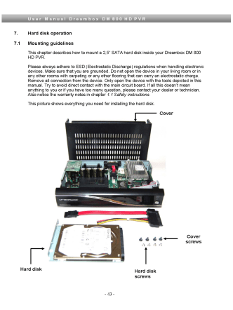 7. Hard disk operation 7.1 Mounting guidelines This chapter