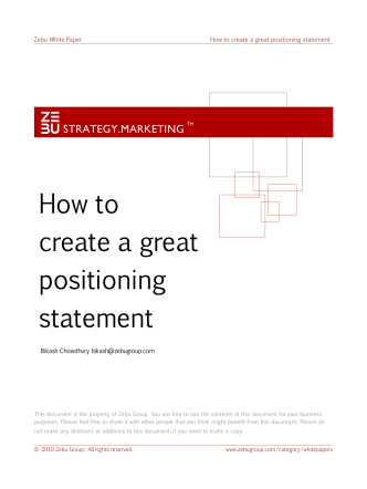 How to create a great positioning statement - Zebu Group