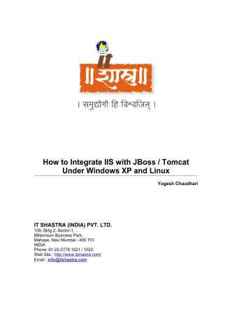 How to Integrate IIS with JBoss / Tomcat Under Windows - ITShastra
