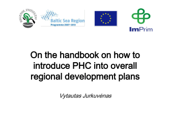 On the handbook on how to introduce PHC into overall regional