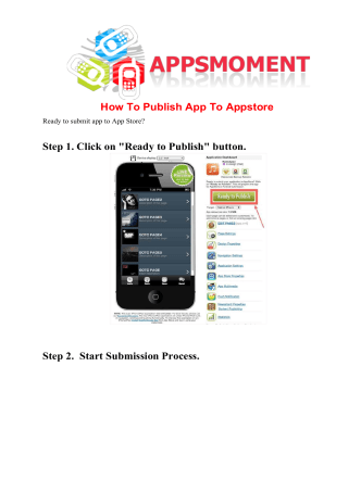 How To Publish App To Appstore Step 1. Click on - AppsMoment