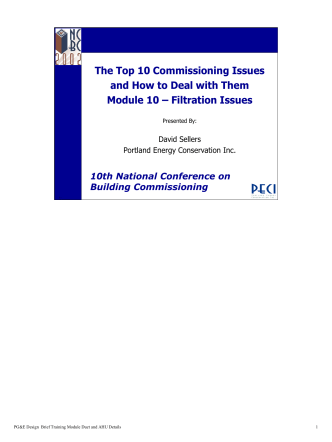 The Top 10 Commissioning Issues and How to Deal with - PECI