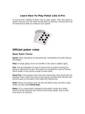Learn How To Play Poker Like A Pro - Teach yourself anything