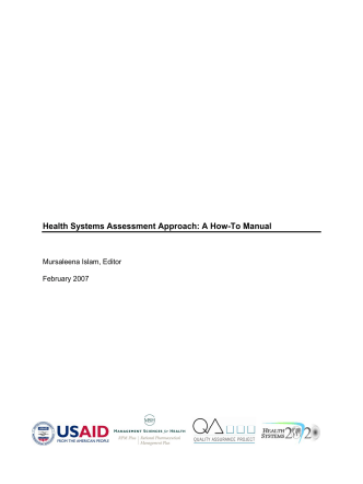 Health Systems Assessment Approach: A How-To Manual