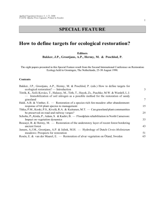How to define targets for ecological restoration? - ResearchGate