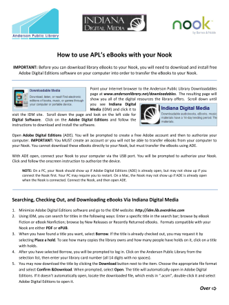 How to use APLs eBooks with your Nook - Anderson Public Library