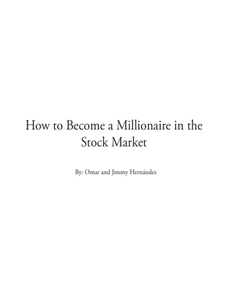 How to Become a Millionaire in the Stock Market - Number 1 Stock