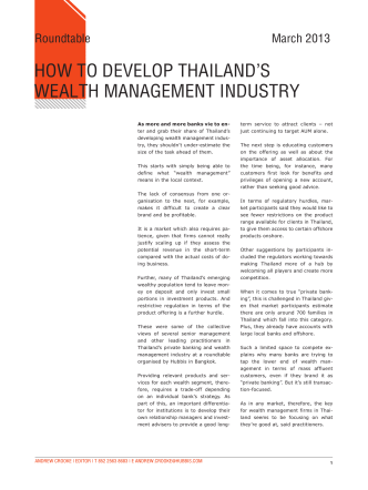 HOW TO DEVELOP THAILANDLS WEALTH - Hubbis