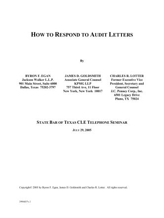 HOW TO RESPOND TO AUDIT LETTERS - Jackson Walker LLP