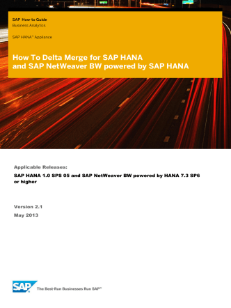How To - Delta Merge for SAP HANA and SAP NetWeaver BW