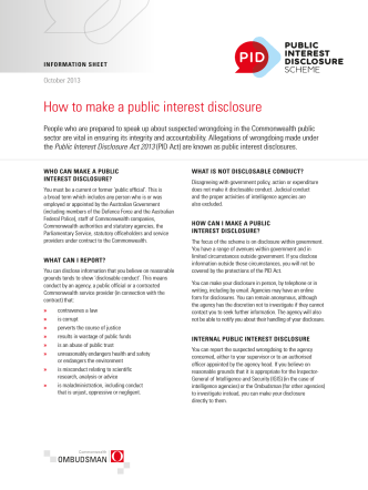 PID Information Sheet - How to make a public interest disclosure