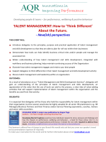 TALENT MANAGEMENT:How to Think Different About the - AQR