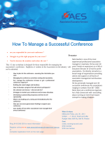 How To Manage a Successful Conference - Association Executive