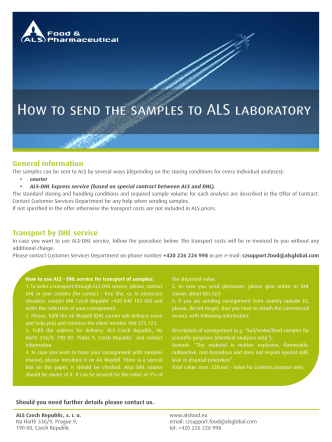 How to send the samples to ALS laboratory