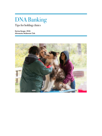 DNA Banking How To - Alaskan Malamute Club of America