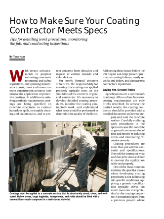 How to Make Sure Your Coating Contractor Meets Specs - Concrete