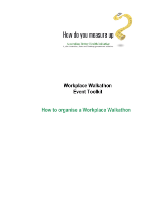 Workplace Walkathon Event Toolkit How to organise a - Measure Up