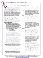 How to Ace Your Job Interview Tip Sheets: Quick References for