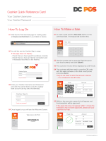 How To Log On How To Make a Sale Cashier Quick Reference Card