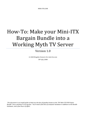 How-To: Make your Mini-ITX Bargain Bundle into a Working Myth TV