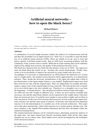 Artificial neural networks – how to open the black boxes?
