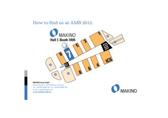 How to find us at AMB 2012: - Makino Technology Week