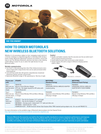 HOW TO ORDER MOTOROLAS NEW WIRELESS BLUETOOTH