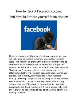 How to Hack A Facebook Account And How To