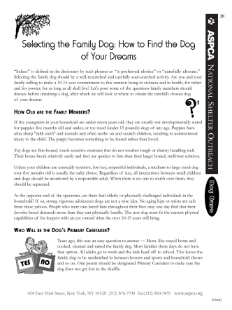 Selecting the Family Dog: How to Find the Dog of Your Dreams