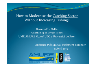 How to Modernise the Catching Sector Without Increasing Fishing?