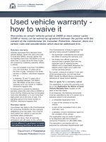 Used vehicle warranty - how to waive it - Department of Commerce