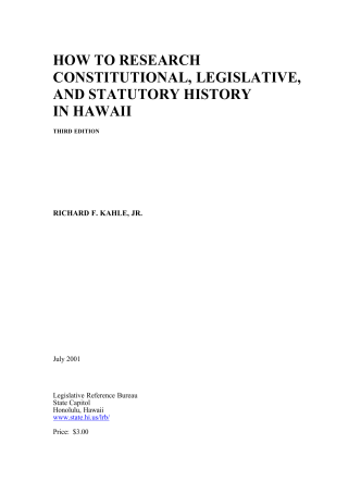 How To Research Constitutional, Legislative, And Statutory History