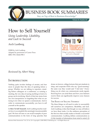 How to Sell Yourself - EBSCO Publishing