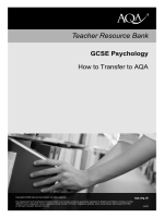 GCSE Psychology Teacher guide Teacher guide: How to - AQA
