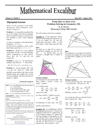 From How to Solve It to Problem Solving in Geometry (II) Olympiad