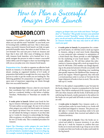 How to Plan a Successful Amazon Book Launch - Vervante