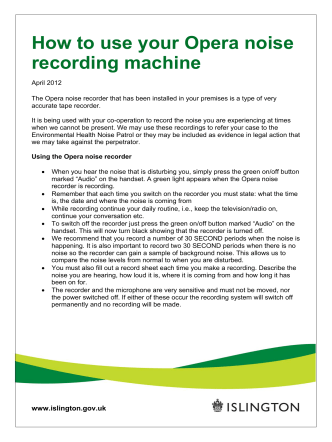 How to use your Opera noise recording machine - Islington Council