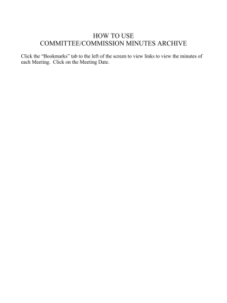 HOW TO USE COMMITTEE/COMMISSION MINUTES ARCHIVE