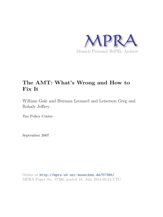 The AMT: Whats Wrong and How to Fix It - Munich Personal RePEc