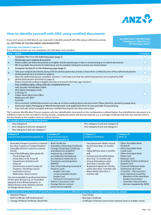 How to identify yourself with ANZ using certified documents