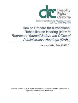 How to prepare for a Vocational Rehabilitation Hearing - Disability
