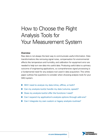 How to Choose the Right Analysis Tools for Your Measurement