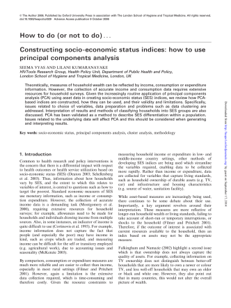 How to do (or not to do)... Constructing socio-economic status