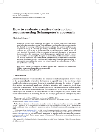 How to evaluate creative destruction: reconstructing Schumpeters