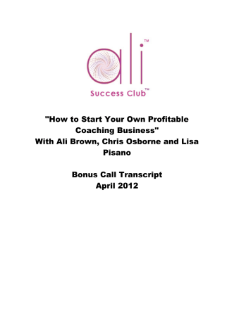 How to Start Your Own Profitable Coaching Business - Ali Brown