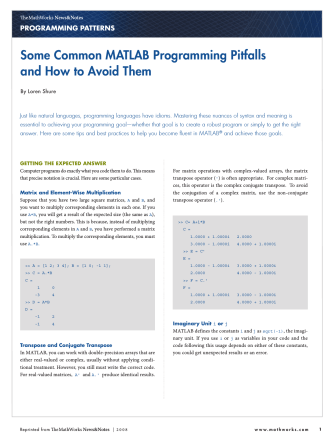 Some Common MATLAB Programming Pitfalls and How to Avoid