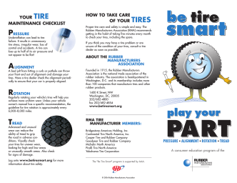 HOW TO TAKE CARE OF YOUR TIRES YOUR - Continental Tire