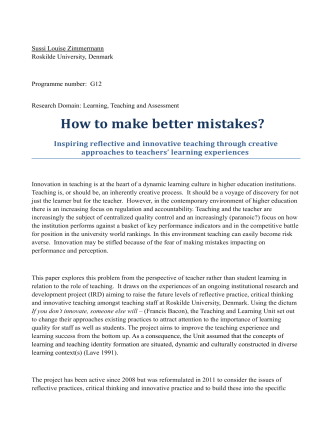 How to make better mistakes? - Society for Research into Higher